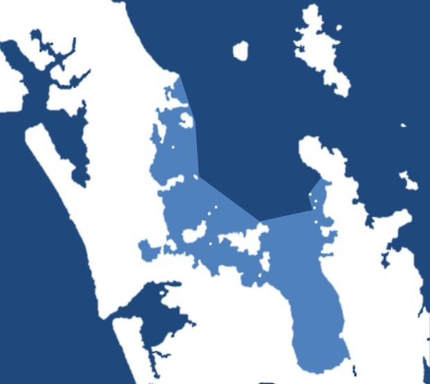 A map of the proposed Hauraki Gulf Recreational Fishing Park.