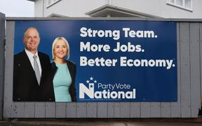 The first National billboard for the 2020 election is on the corner of Carlyle and Faraday streets in central Napier