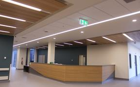 Reception area in the new Te Nikau Greymouth Hospital.