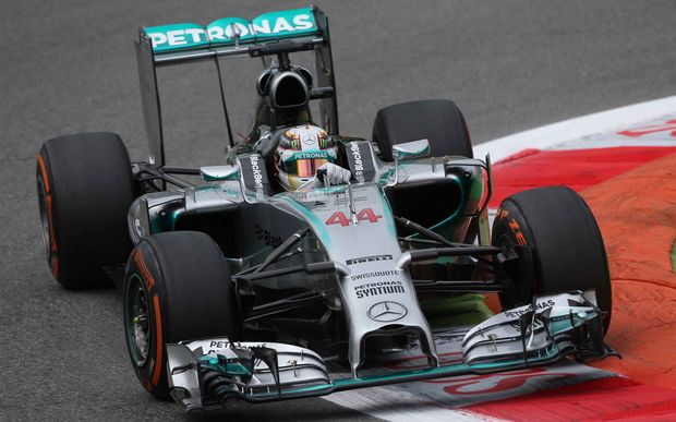 Lewis Hamilton driving for Mercedes.