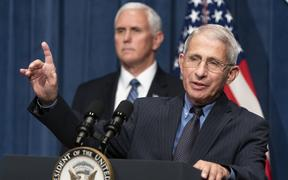 WASHINGTON, DC - JUNE 26: Director of the National Institute of Allergy and Infectious Diseases Anthony Fauci speaks as U.S. Vice President Mike Pence listens after a White House Coronavirus Task Force briefing