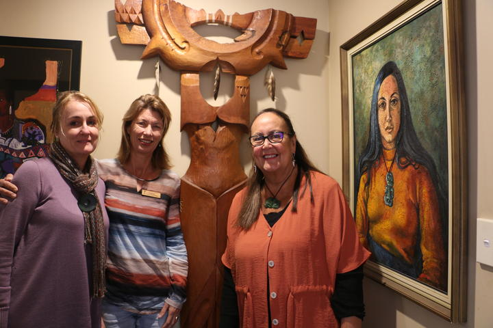 Susan Brown, Claire Gower-James and June Grant at her home in Rotorua.