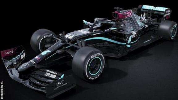 2020 Mercedes F1 car in black livery