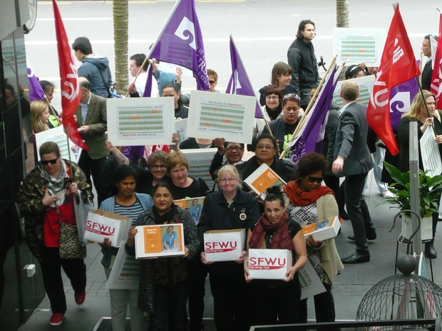 Aged care workers and union member presented a petition to the Employment Relations Authority in Auckland.