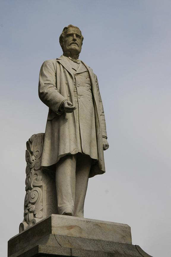 This statue of Governor George Grey has been a focus of protest in Auckland.