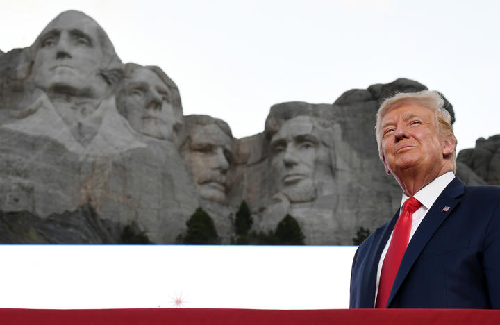Donald Trump arrives for the Independence Day events at Mount Rushmore National Memorial in Keystone, South Dakota.