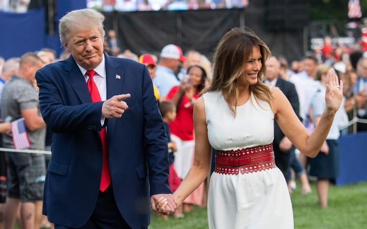 "US President Donald Trump and First Lady Melania Trump host the 2020 ""Salute to America"" event in honor of Independence Day on the South Lawn of the White House in Washington, DC, July 4, 2020."