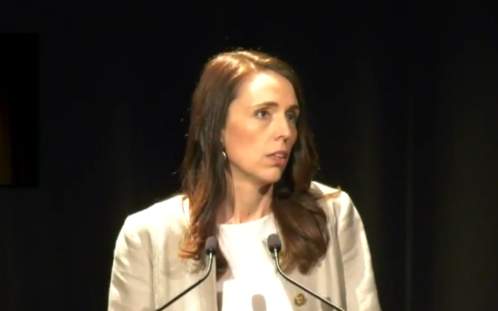 Prime Minister Jacinda Ardern delivering her leader's speech at the Labour Party Congress in Wellington.