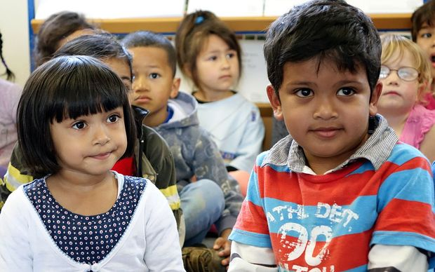 Children at Mt Roskill Kindergarten, where Child Poverty Action Group made the call for cross-party cooperation.