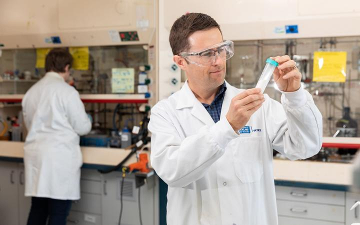 Boffa Miskell biosecurity consultant Dr Lee Shapiro works on the firm's project with University of Auckland and Invasive Pest Control on the norbormide rat poison.