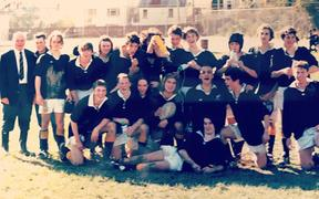 Current head of professional rugby at NZR Chris Lendrum (fifth from right, top row) and Jamie Wall (second from right, front row) in 1998.
