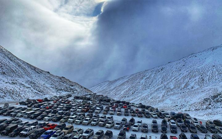 The car park at The Remarkables ski resort in Queenstown.
