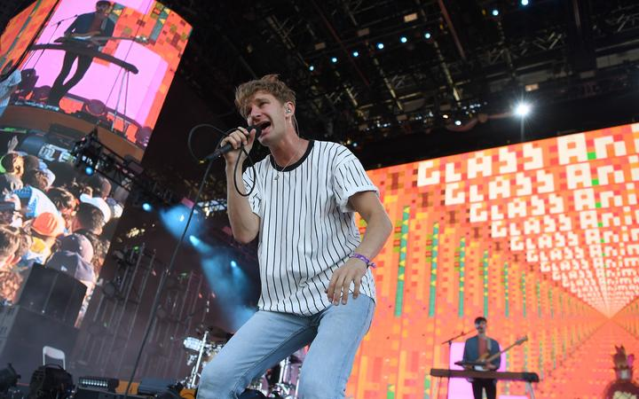 Dave Bayley of the band Glass Animals performs at the 2017 Panorama Music Festival on Randall's Island in New York on July 30, 2017. (Photo by ANGELA WEISS / AFP)