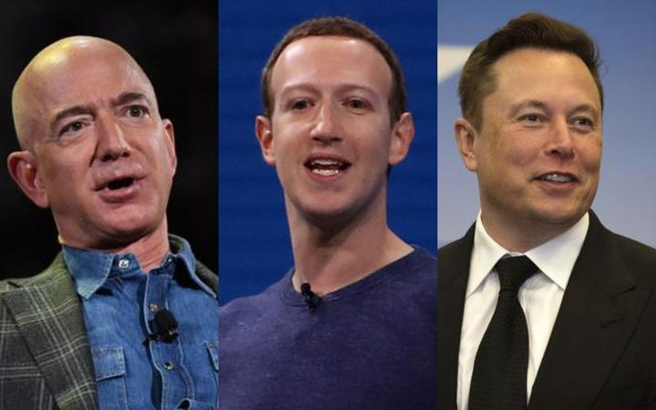 Tech elites Jeff Bezos, Mark Zuckerberg and Elon Musk.