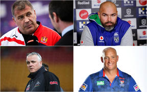 From top left to bottom right: England coach Shaun Wane,Warriors interim coach Todd Payten Broncos and Penrith mentor Anthony Griffin and former Knights and Dragons coach Nathan Brown.