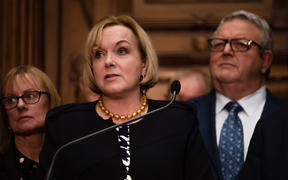 National Party leader Judith Collins addresses media alongside deputy leader Gerry Brownlee following the emergency caucus meeting on 14 July.