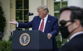 US President Donald Trump speaks to the media in the Rose Garden at the White House on July 14, 2020 in Washington, DC. Trump spoke on several topics including Democratic presidential candidate Joe Biden, the stock market and relations with China.