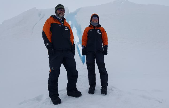 Greg Leonard and Maren Richter from the University of Otago, standing in the pressure ridges in front of Scott Base, where the sea ice is pushed up against the land.