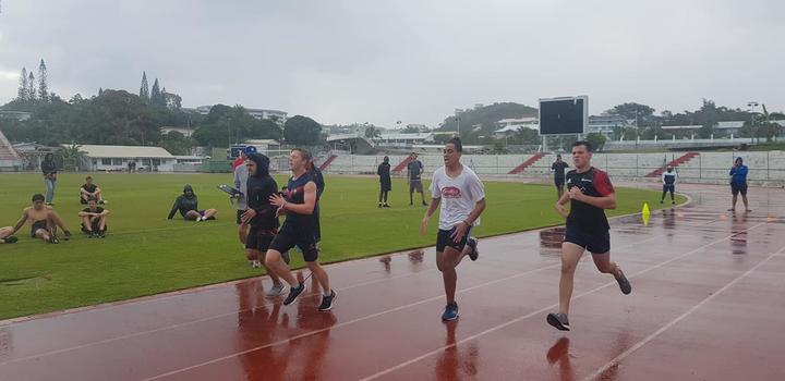 Prospective players were put through their paces in the Noumea rain.