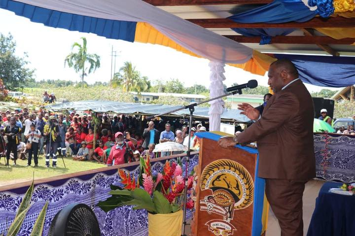 Papua New Guinea's Prime Minister James Marape addresses the public at a groundbreaking ceremony for the upgrade of Kavieng airport in New Ireland province, 16 July 2020