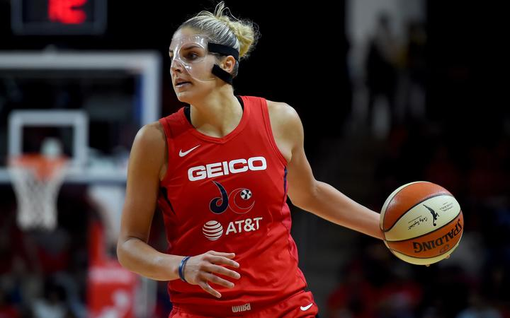 : Elena Delle Donne #11 of the Washington Mystics dribbles against the Connecticut Sun during the second half of WNBA Finals Game One at St Elizabeths East Entertainment & Sports Arena on September 29, 2019 in Washington, DC.