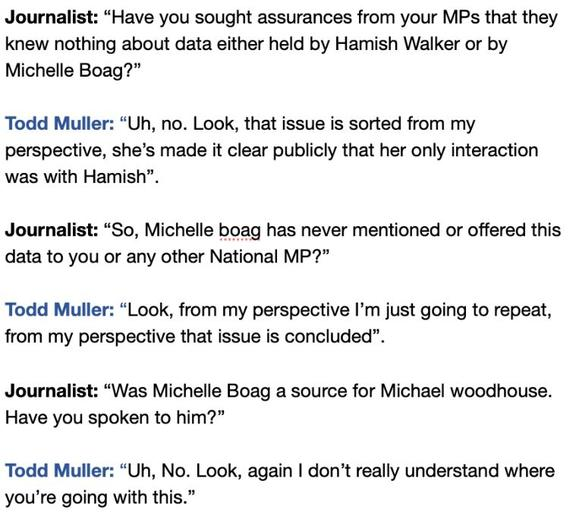 A transcript of Todd Muller's exchange with reporters