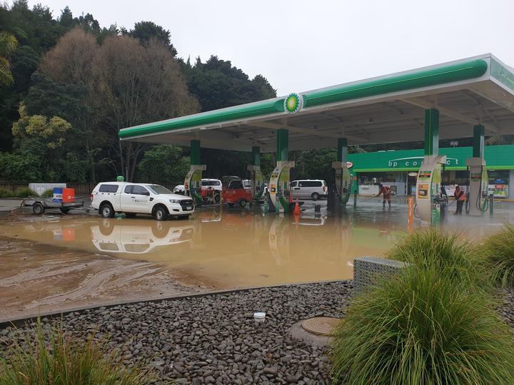 Flooding at a BP in Whangarei.