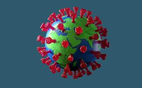 Planet earth illustrated as a coronavirus microbe, 3D Rendering on grey background with red protein spikes.