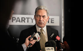 New Zealand First leader Winston Peters talking to media at a stand up after his 2020 election campaign launch.