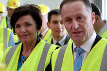 100914. Photo Kim Baker Wilson / RNZ. National leader John Key and National's Corrections spokesperson Anne Tolley on the grounds of Wiri Men's prison, under construction.