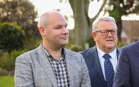 National MP for Rangitata Andrew Falloon with Gerry Brownlee and then-leader Todd Muller announcing the party's policy for a four-lane highway between Christchurch and Ashburton.
