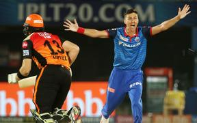 Trent Boult playing in the 2019 IPL.