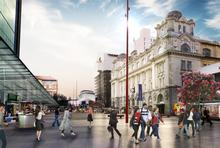 An artist's impression of a pedestrianised Lower Queen Street in front of Britomart.
