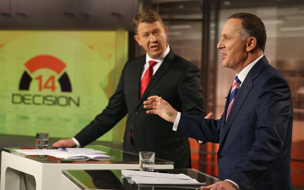 Labour's David Cunliffe, left, and National leader John Key.