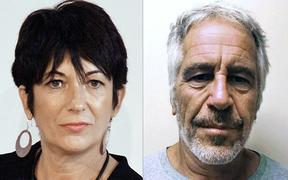 (COMBO) This combination of pictures created on July 2, 2020 shows Ghislaine Maxwell (L) during an event on September 20, 2013 in New York City and an undated handout photo obtained on July 11, 2019 courtesy of the New York State Sex Offender Registry of Jeffrey Epstein (R).