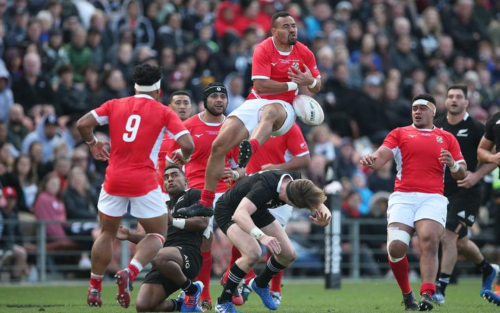 Tonga reserve James Faiva collides with All Blacks reserve Jordie Barrett during the rugby Test All Blacks v Tonga, Hamilton, 2019.