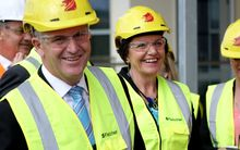 National leader John Key and National's Corrections spokesperson Anne Tolley at the Wiri Men's prison site.