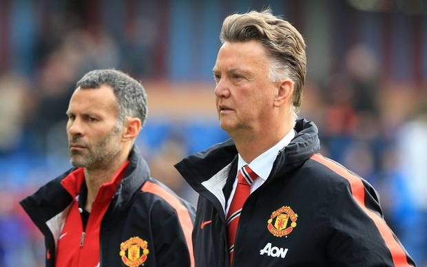 Barclays Premier League - Burnley v Manchester United - Man Utd manager Louis van Gaal (R) and assistant Ryan Giggs. 2014.