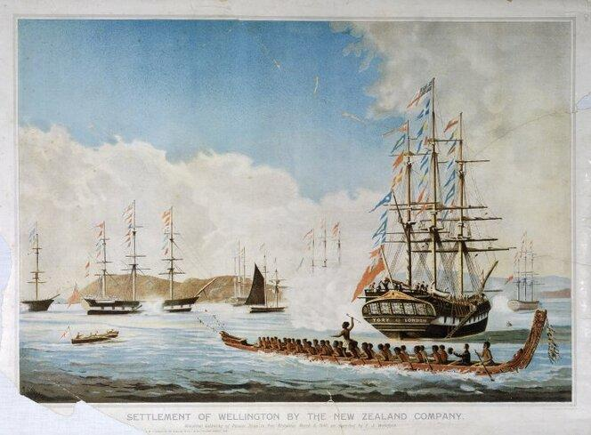 Clayton, Matthew Thomas, 1831-1922 :Settlement of Wellington by the New Zealand Company. Historical gathering of pioneer ships in Port Nicholson, March 8, 1840, as described by E J Wakefield.