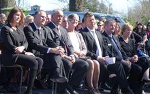 Mourners at the Ashburton memorial service, including Prime Minister John Key and Labour party leader David Cunliffe.