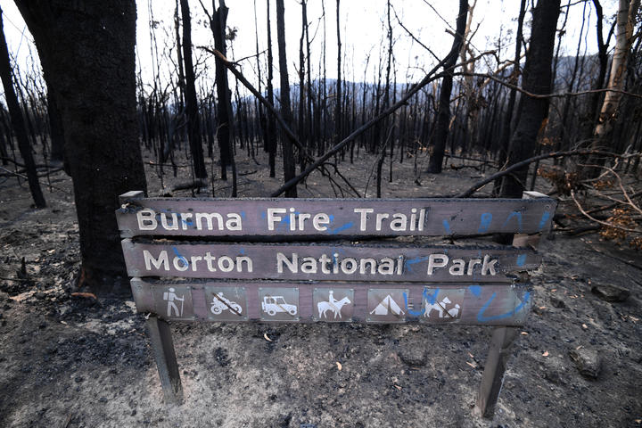 Signage in the Budgong National Park, NSW, after bushfires on 15 January, 2020.