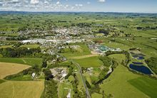 An aerial view of Eltham and surrounding farmland in South Taranaki.
