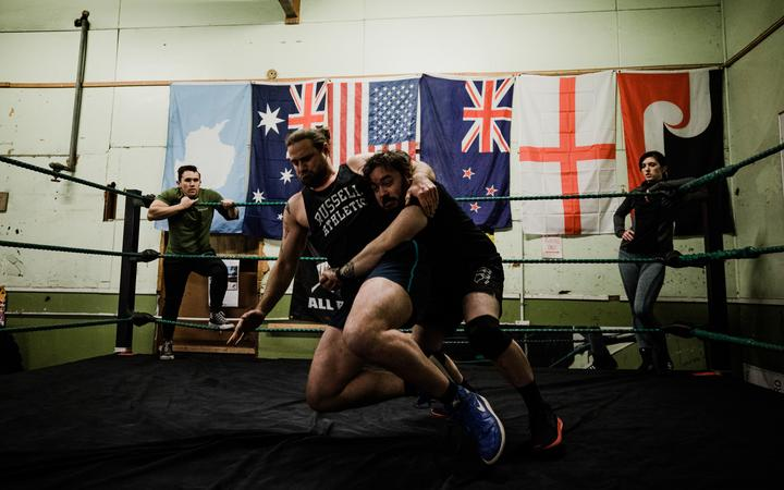 Wrestlers train at the Valley Professional Wrestling Academy in Lower Hutt.
