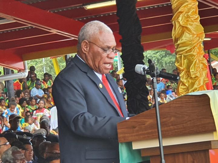 Vanuatu PM Bob Loughman speaks during independence celebrations