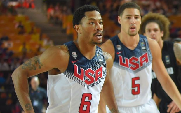 Team USA basketball players Derrick Rose and Klay Thompson.