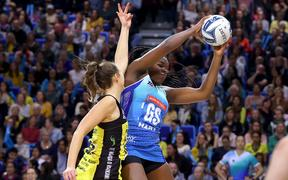 Pulse's Kelly Jury (L) wit Mystics Grace Nweke during the Pulse vs Mystics ANZ Premiership Netball match. Te Rauparaha Arena Sunday, 02 August 2020.