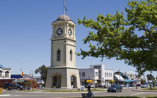 The Clock Tower in Feilding's Manchester Square.