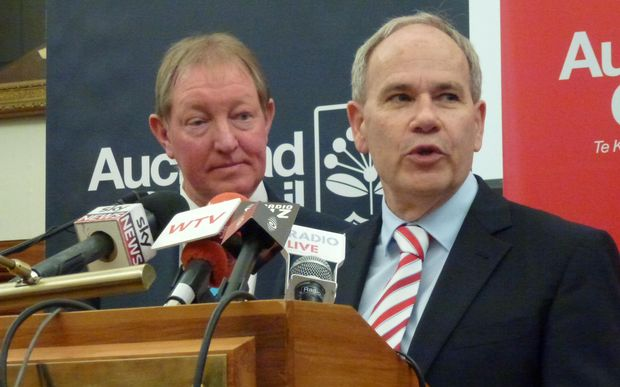Housing Minister Nick Smith (left) and Auckland Mayor Len Brown announcing the special housing areas.