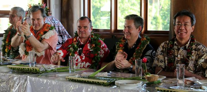 The international team of envoys in Savusavu: From left, British deputy High Commissioner Paul Welsh, US ambassador Joseph Cella, Australian High Commissioner John Feakes, NZ High Commissioner Jonathan Curr and Japan's deputy Chief of Mission, Tsuguyoshi Hada.