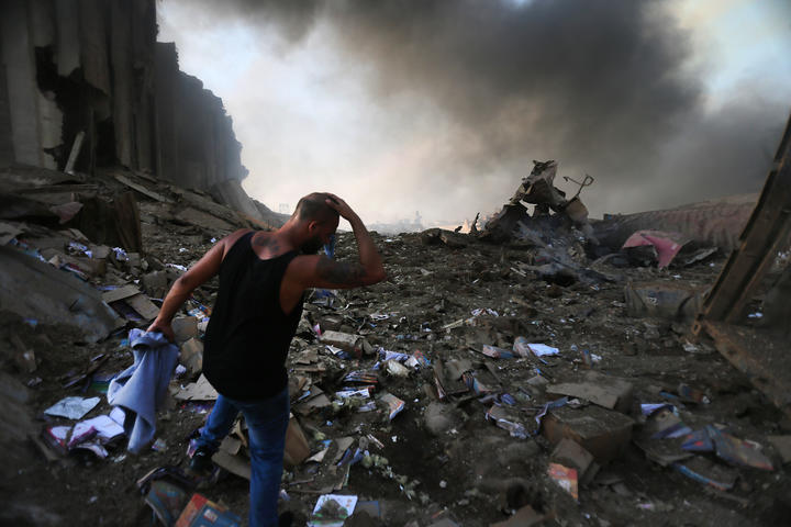 The scene of an explosion at the port in the Lebanese capital Beirut